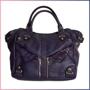 Just Fab Faux Leather Purple Tote